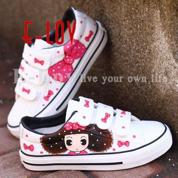 Hot Sale Women Men Shoes Casual Canvas Shoes Woman Fashion Hand Painted Shoes Cute Fla