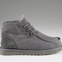 LFMON UGG 5866 Tall Beckham Men Fashion Casual Wool Winter Snow Boots Grey