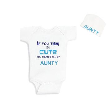 Culbutomind If You Think I am Cute You Should See My Aunty Cotton Short Sleeve Baby Jumpsuit Funny Baby BodysuitandCustomBeanie