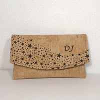 Vegan leather cork purse, personalized purse, galaxy leather wallet, stars cork bag, girl clutch bag, card holder, phone wallet, beige cork