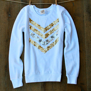 Sequin Chevron/Arrow Design Sweatshirt - The Dazzle Me Chevron Shirt - Liam Payne Tattoo White Sweatshirt