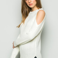 Hi-Low Cold Shoulder Knit Sweater in White