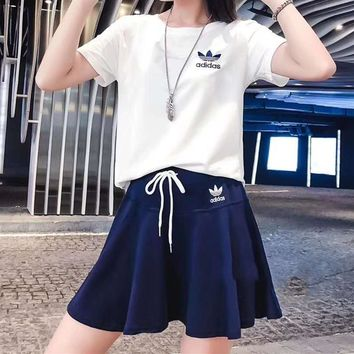 """Adidas"" Women's Leisure  Fashion Letter Printing Short Sleeve Elastic Skirt Two-Piece Casual Wear"