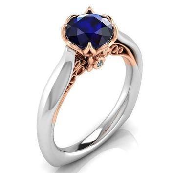 2 Tone Sapphire Engagement Ring Milgrain Solitaire Ring 18K Solid Gold Contour Filigree Vintage Style