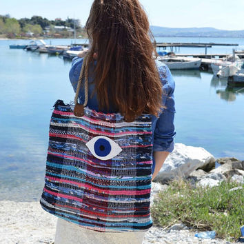 To Mati Kilim Tote Bag Large - Boho Chic Style - Beach Boho Bag