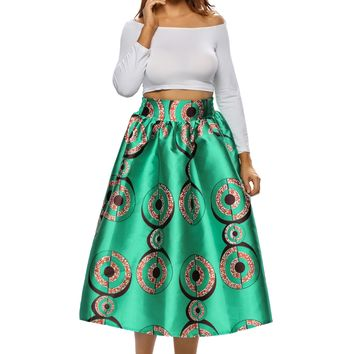 Green African Print A-line Pleated Midi Skirt
