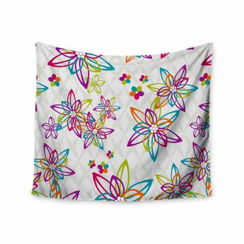 """Julia Grifol """"Happy Spring Flowers"""" White Orange Vector Wall Tapestry"""