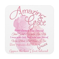 Amazing Grace Beautiful Pink Rose Typography Coaster