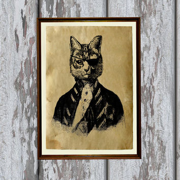 Pirate cat print on Antiqued paper Animal art Antique decoration 8.3 x 11.7 inches