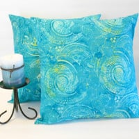 Blue Pillow Covers Batik Print Beach Decor 16 X 16 inches