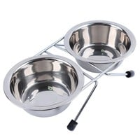 Stainless Steel Pet Dog Cat Puppy Travel Feeding Feeder Double Dual Food Bowl Water Dish plate twins style with retail package