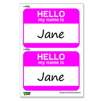 Jane Hello My Name Is - Sheet of 2 Stickers