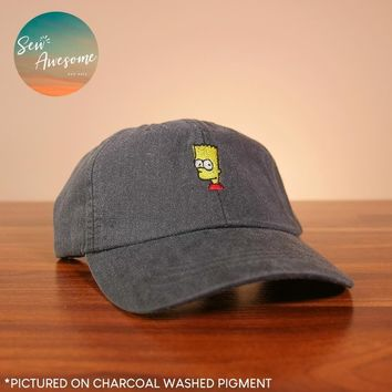 Bart Simpson Dad Hat, The Simpsons Baseball Cap, Simpsons Gifts, Best Friend Gift, Gift for Him, Embroidered Hat