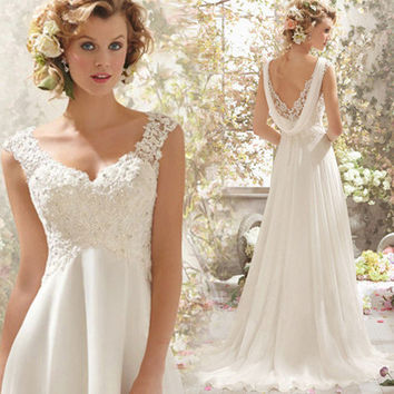 2015 Fashion flowy lace wedding dresses White Long Chiffon Flowy Top Lace Casual Beach Wedding Dress 2014 Back Drop OWD306 1245853