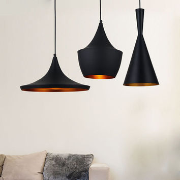 Set of 3 Tom Dixon Inspired Beat Wide Fat Tall Black Powder Coat Copper Shade Ceiling Pendant Lights (FREE Worldwide Shipping)
