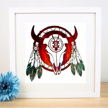 Native American Indian Symbolic Canvas Art Print Painting Poster Wall Pictures For Room Home Decorative Bedroom Decor No Frame