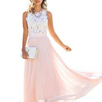 Women's Vintage Lace Chiffon Formal Party Wedding Bridesmaid Long Dress
