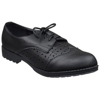 Womens Closed Toe Shoes Laser Cutout Lace Up Oxford Brogues Black