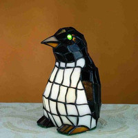 "0-001868>8""h Mini Tiffany Penguin Accent Lamp"