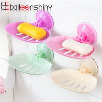 BalleenShiny Soap Holder Suction Cup Bathroom Shower Soap Dish draining Tray Storage Box Organizer Rack Kitchen Tool Accessory