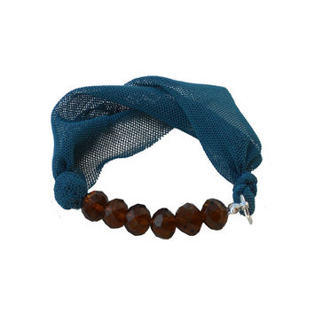 Fabric BRACELET - Tourquoise textile bangle with brown beads