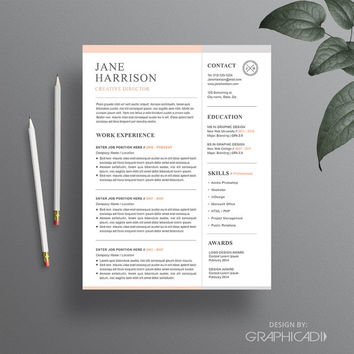 Resume Template - Cover Letter Template - Word Resume Template - CV Template - iWork Pages Resume Template - Professional Resume Template