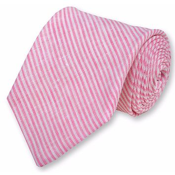 Riverfront Linen Necktie in Pink by High Cotton