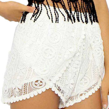 White Lace Crochet Shorts with Lining