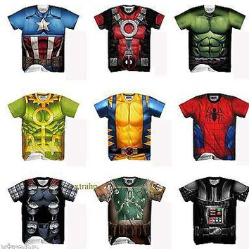 Authentic Marvel Comic Or Star Wars Adult Sublimated T-Shirt Costume Avengers