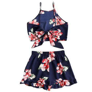 Women Flower Cami Crop Top And Shorts Set Elastic High Waist Spaghetti Straps Cover-Ups Summer Beach Swimsuit