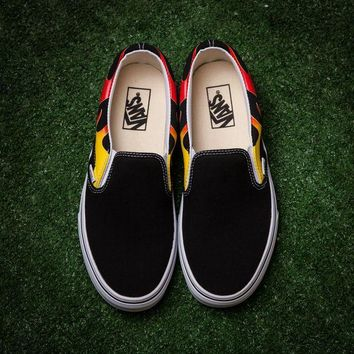 Vans x Thrasher Trending Women Men Leisure Slip-OnCanvas Flame Print Flats Sneakers Sport Shoes I