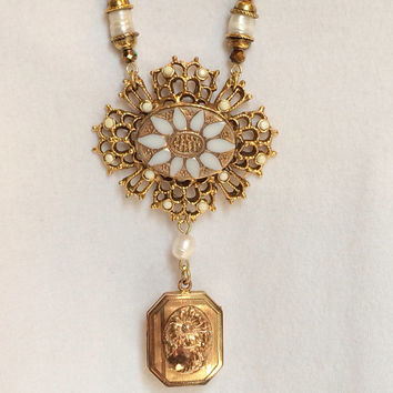 Gold toned Locket Necklace with Water Pearls and Cross