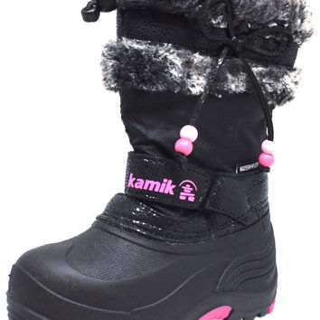 Kamik Plume Girl's Faux Fur Lined Waterproof Snow Protection Warm Winter Snow Boots