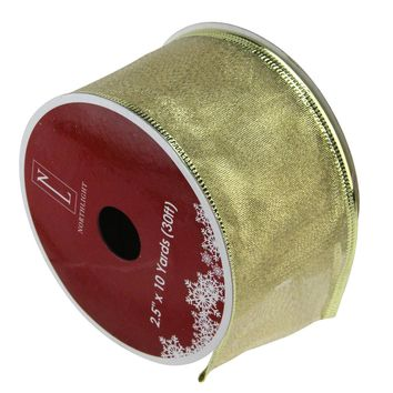 """Pack of 12 Textured Gold Wired Christmas Craft Ribbon Spools - 2.5"""" x 120 Yards Total"""