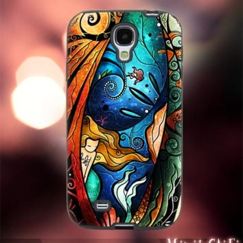 MC12Y,17,Ariel little mermaid,stained,glass -Accessories case cellphone- Design for Samsung Galaxy S5 - Black case - Material Soft Rubber