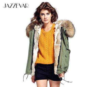ESBU3C JAZZEVAR Fashion woman army green Large raccoon fur collar hooded coat parkas outwear detachable rabbit fur lining winter jacket