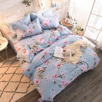Sanding Cotton Warm Luxury Bedding Set Queen King Size Duvet Cover Bed set Pink Blue Red Bed Sheet Flat sheet Set Pillowcases
