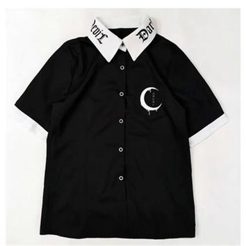 Harajuku Women Shirts Moon Gothic Letters Japanese Printed Collar Vintage Short Sleeve Black Shirt Tops Darkness Goth Blouse