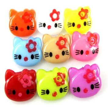 Pack of 50 Assorted Plastic Kitty Cat Coat Shank Buttons. 14mm x 11mm. For Fancy Dress and Coats. Hello Animals, Cats, Feline