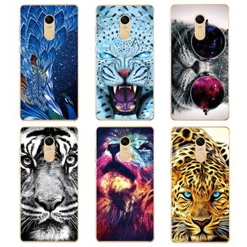 Scary Tiger Lion Leopard Printing Drawing Transparent Soft Silicone Case For Xiaomi Redmi Note 4 4X Pro Phone Case Back Cover