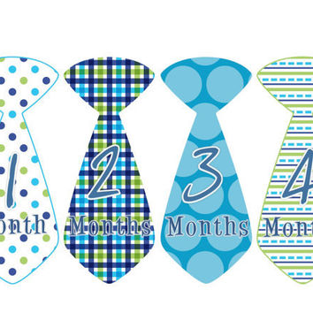 Baby Month Stickers Monthly Onesuit Stickers Boy Blue Green Preppy Tie Stickers Monthly Onesuit Stickers Baby Shower Gift Photo Prop Eddie3