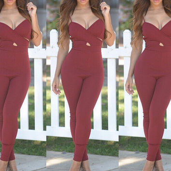 Wine Red Spaghetti Strap V-Neck Jumpsuit