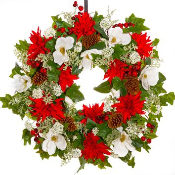 White Magnolia, Red Floral & Berry Holiday Wreath