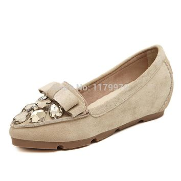 Newly Women's Genuine Fur with Rhinestone Loafers Leisure Shoes Anti Slip Pregnant Woman Loafers Shoes