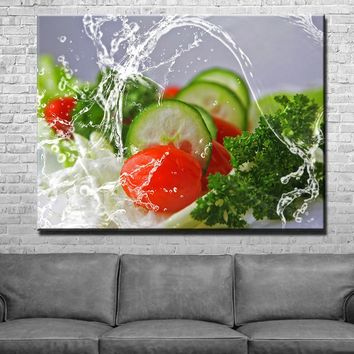 Splash Food Kitchen and Dining Room Wall Decor Canvas Set