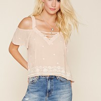 Embroidered Open-Shoulder Top