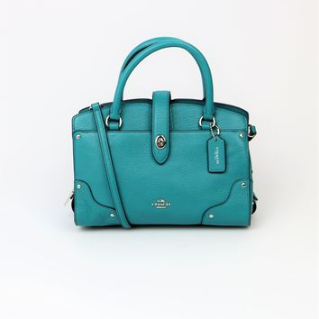 Coach Mercer 24 Teal Satchel