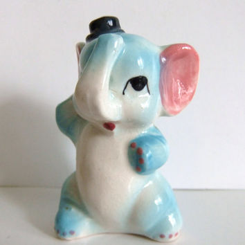 Vintage Elephant Figurine, blue pink black top hat, Japan kitschy Figurine
