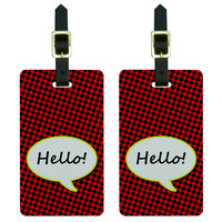 Hello Comic Talk Bubble Luggage Tag Set