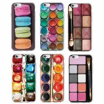 Colorful Watercolors Set Paint Palette Cake Macaroon Makeup Soft Phone Case Fundas For iPhone 6  6Plus 7 7Plus 8 8Plus X SAMSUNG